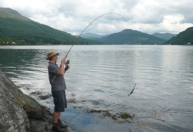 Craig catching mackerel on Loch Long