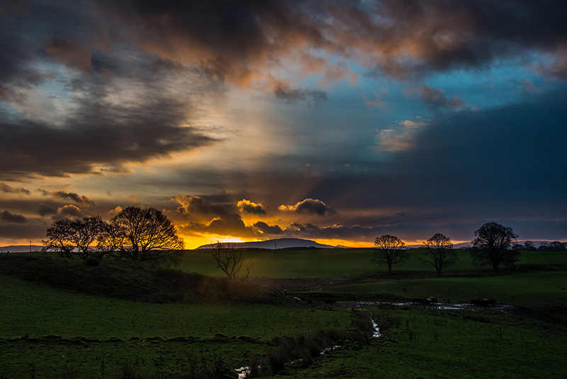 dramatic sunrise with clouds sunbeams and pastoral setting